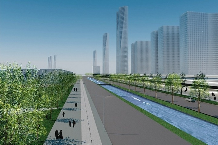 Proposta: eixo infraestrutural, com marquise-eventos e hub de mobilidade<br />Desenho equipe / Team's drawing
