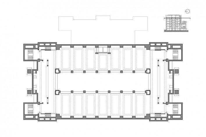 Edifício Larkin, planta quarto pavimento, Buffalo, Nova York, EUA, 1905. Arquiteto Frank Lloyd Wright<br />Imagem reprodução / imagen reproducción  [Website Història en Obres]