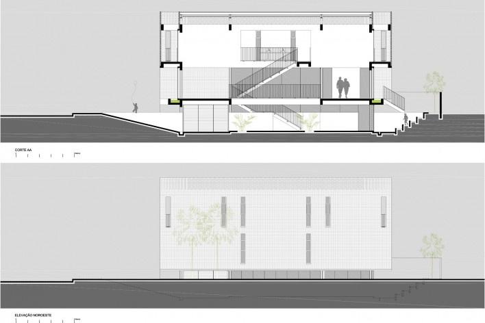 Residência KS, corte AA e elevação noroeste, Natal RN, 2016. Arquitetos Alexandre Brasil, Paula Zasnicoff e Raquel Araújo<br />Imagem divulgação