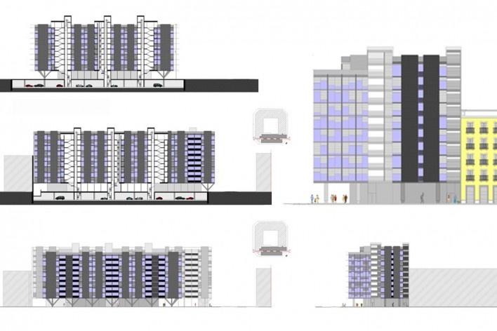 Seccions y alzados del edificio Mediterráneo<br />Elaboración Nicolás Sica Palermo