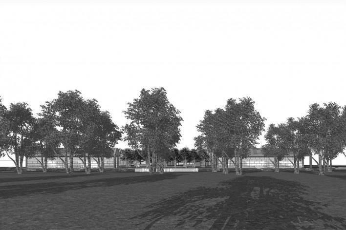 Museu de Arte Kimbell, vista externa, Fort Worth, Texas, EUA, 1972. Arquiteto Louis I. Kahn<br />Modelo tridimensional Miguel Bernardi / Imagem Edson Mahfuz