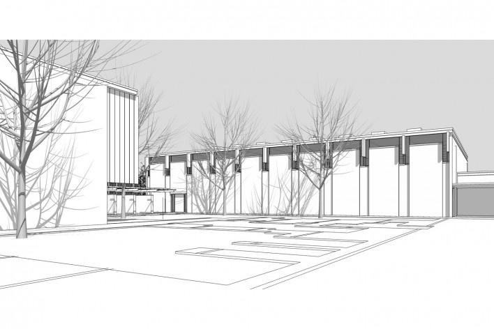 Saint Catherine's College, estrutura do bloco de serviço, Oxford, Inglaterra, 1959-1964, arquiteto Arne Jacobsen<br />Modelo tridimensional de Edson Mahfuz e Ana Karina Christ