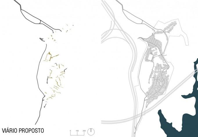 Diagrama de projeto. Sistema viário proposto. Projeto de Urbanização Integrada<br />Fonte Boldarini Arquitetos Associados