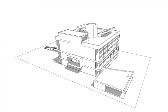 Associação da Indústria Têxtil, vista externa do edifício, Ahmedabad, Gujarat, Índia, 1954. Arquiteto Le Corbusier<br />Elaboração/ Elaboración Edson Mahfuz