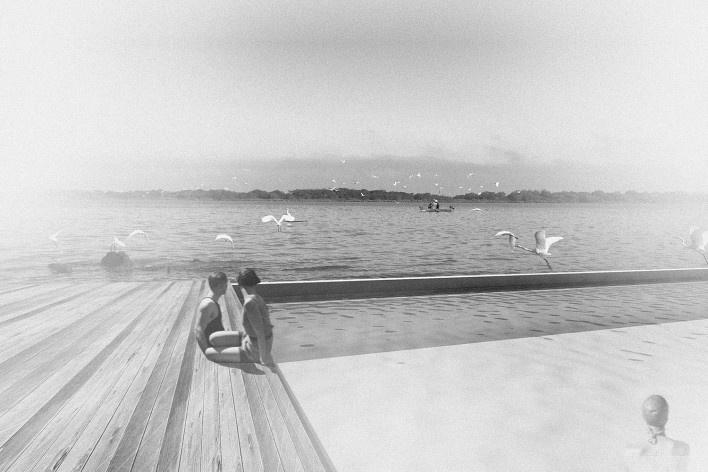 Piscina flutuante no cais, Porto Alegre. Arquiteta Nathalia Cantergiani<br />Imagem divulgação