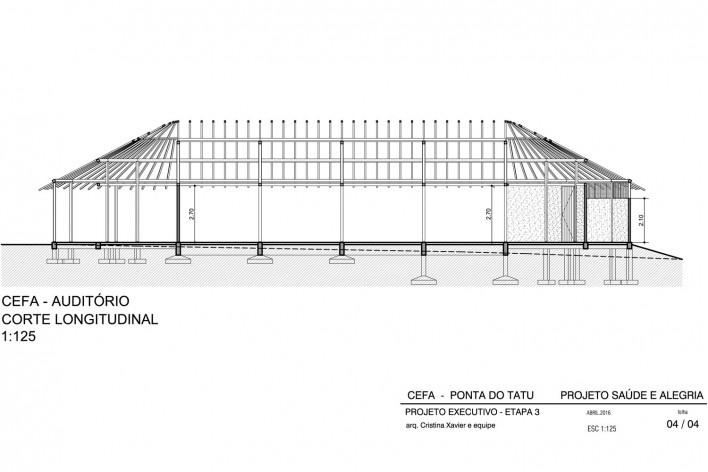 Centro Experimental Floresta Ativa - CEFA, corte auditório, RESEX Tapajó-Arapiuns PA. Arquiteta Cristina Xavier<br />Imagem divulgação