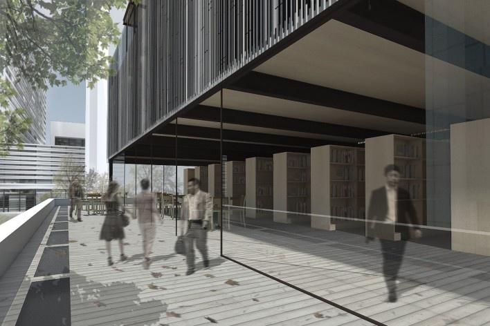 Museu da Diversidade Sexual, varanda da biblioteca. Hereñú + Ferroni Arquitetos, 2014<br />Imagem divulgação