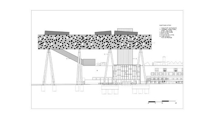 Sharp Center, elevação leste, Toronto, arquiteto Will Alsop, 2004<br />Imagem Alsop Architects