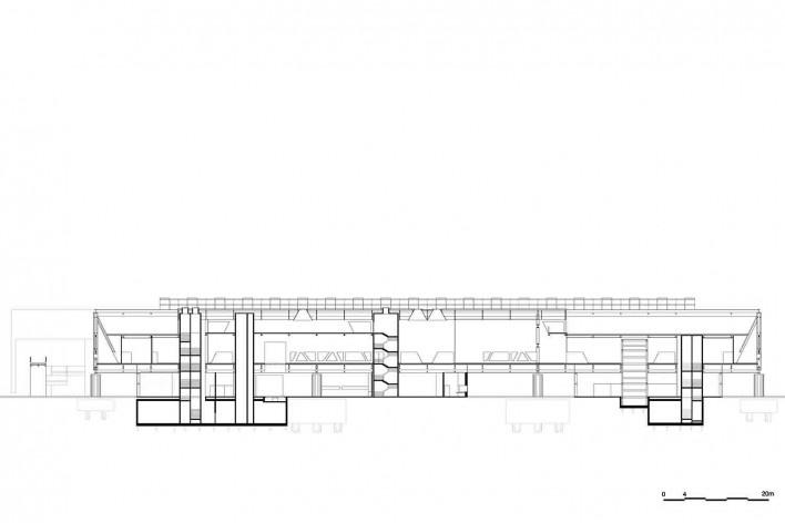Museu Nacional dos Coches, corte longitudinal do pavilhão principal, Lisboa. Arquiteto Paulo Mendes da Rocha, MMBB arquitetos e Bak Gordon arquitetos<br />Imagem divulgação