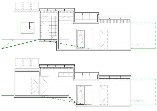 Casa tipo A cortes. Concurso Habitação para Todos. CDHU. Casas escalonadas - 2º Lugar.<br />Autores do projeto  [equipe premiada]