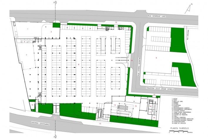 Supermercado Angeloni, planta do subsolo, Criciúma, 1976-1978 (original) e 2009-2011 (reforma e ampliação). Douglas Piccolo Arquitetura
