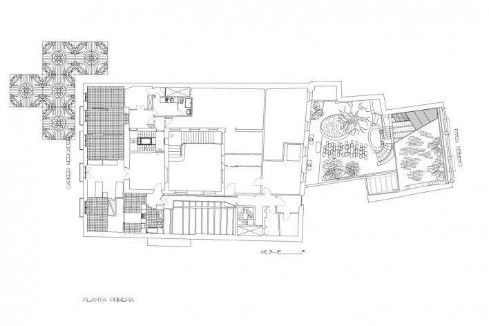Planta primeira<br />Deseño Estudio Miralles-Tagliabue