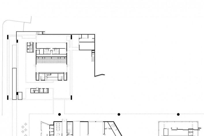 Museu Nacional dos Coches, planta térreo do anexo, Lisboa. Arquiteto Paulo Mendes da Rocha, MMBB arquitetos e Bak Gordon arquitetos<br />Imagem divulgação