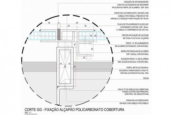 Arena da Juventude, cobertura em policarbonato corte G, Parque Olímpico de Deodoro, Rio de Janeiro, RJ, Escritório Vigliecca & Associados<br />Imagem divulgação