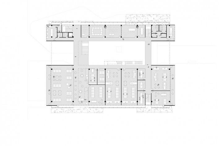 Ágora Tech Park, planta primeiro pavimento, Joinville SC Brasil, 2019. Arquitetos Marcus Vinicius Damon, Guilherme Bravin e Andressa Diniz / Estúdio Módulo<br />Imagem divulgação  [Estúdio Módulo]