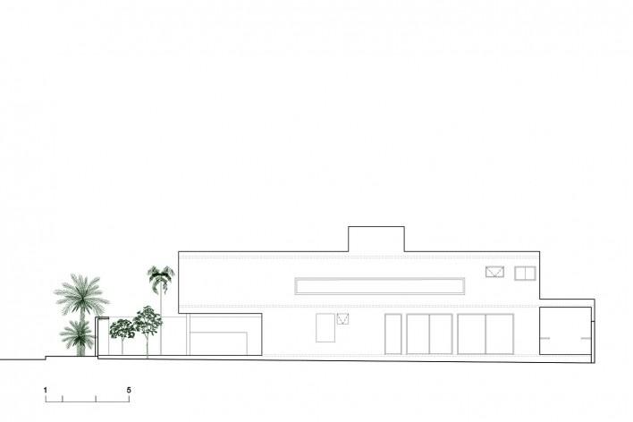 Casa vale do sol, elevação lateral. Marcos Franchini