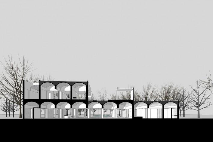 Casa Sarabhai, sección, Shadibag, Ahmedabad, India, 1952-55. Arquitecto Le Corbusier<br />Modelo tridimensional Matheus Bragagnolo / Imagem Edson Mahfuz