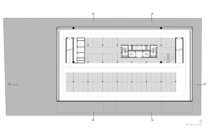 Nova sede da Confederação Nacional de Municípios – CNM, planta 3º subsolo – garagem, Brasília DF, 2016. Arquitetos Luís Eduardo Loiola e Maria Cristina Motta / Mira Arquitetos<br />Desenho divulgação
