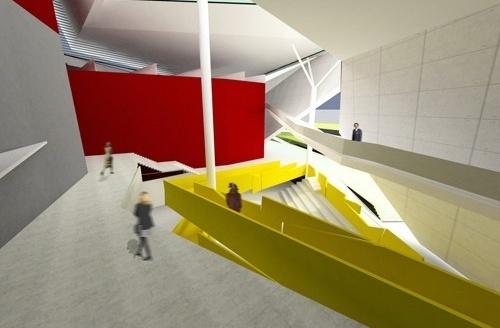 Perspectiva do foyer com o auditório interno e a passarela perimetral<br />Imagem do autor do projeto