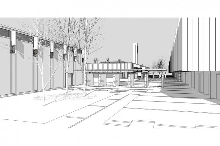 Saint Catherine's College, vista de uma pérgola, sem cerca viva, Oxford, Inglaterra, 1959-1964, arquiteto Arne Jacobsen<br />Modelo tridimensional de Edson Mahfuz e Ana Karina Christ