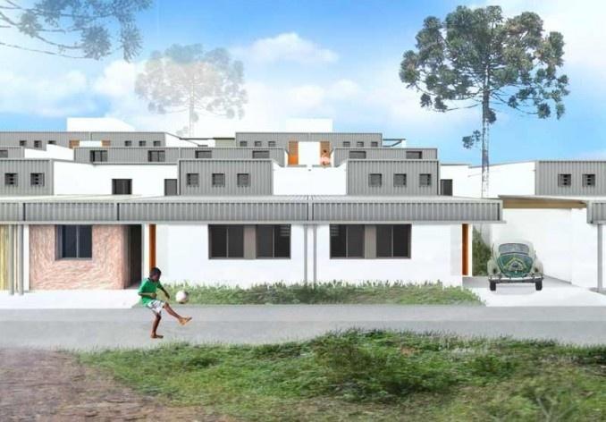 Implantação geral. Concurso Habitação para Todos CDHU.Casas escalonadas-Menção honrosa.<br />Autores do projeto  [escritorio premiado]