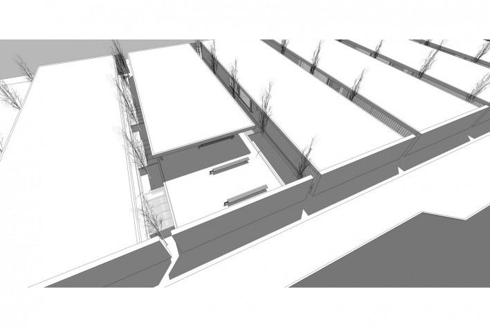 Aulário 3 (unidade de Alicante), vista aérea, San Vicente del Raspeig, Alicante, Espanha, 2000. Arquiteto Javier Garcia-Solera<br />Modelo tridimensional e imagem Edson Mahfuz