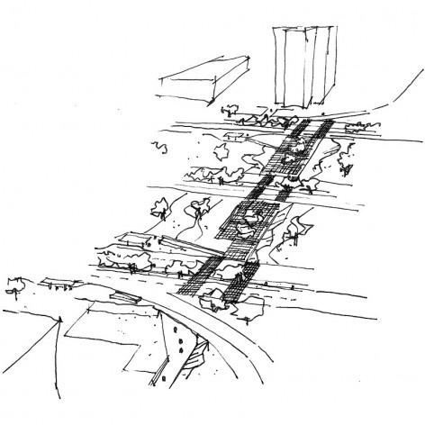Perspectiva aérea. Concurso Passagens sob o Eixão. Menção honrosa 04<br />divulgação