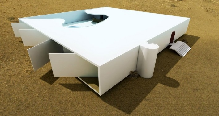 Residência Rothschild, Cesaréia, Israel, 1965, arquiteto Oscar Niemeyer<br />Modelagem tridimensional Marco Milazzo e Rômulo Almagro