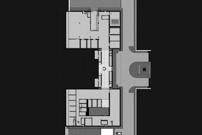Museu de Arte Kimbell, planta subsolo, Fort Worth, Texas, EUA, 1972. Arquiteto Louis I. Kahn<br />Modelo tridimensional Miguel Bernardi / Imagem Edson Mahfuz
