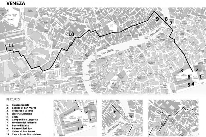 Veneza, percurso geral<br />Mapa de viagem