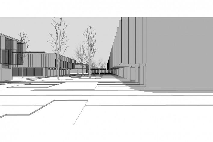 Saint Catherine's College, vista dos pátios secundários em direção ao norte, com as cercas vivas, Oxford, Inglaterra, 1959-1964, arquiteto Arne Jacobsen<br />Modelo tridimensional de Edson Mahfuz e Ana Karina Christ