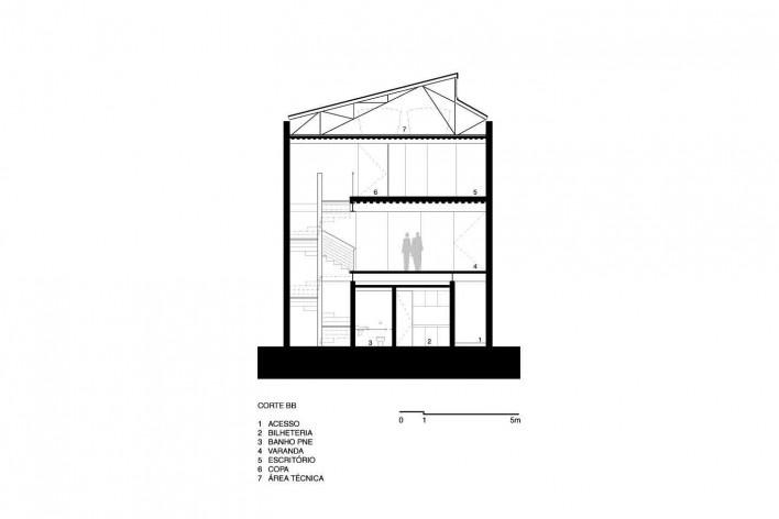 Instituto Brincante, corte B-B, São Paulo SP, 2016, escritório Bernardes Arquitetura<br />Imagem divulgação