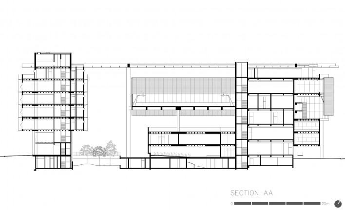 Centro Paula Souza, corte AA, São Paulo, arquitetos Francisco Spadoni e Pedro Taddei<br />Imagem divulgação