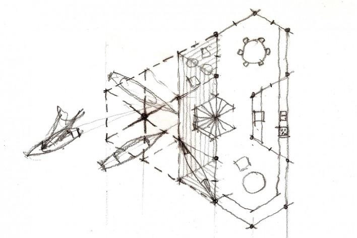 Casa do Lucas, planta do 1o andar com varanda, jantar, cozinha, estar, beira de lago genérico, arquiteto Marcos Acayaba