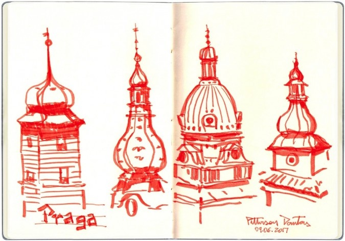 Topos de Praga, República Tcheca<br />Desenho de Petterson Dantas