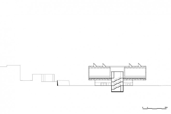 Museu Nacional dos Coches, corte transversal do pavilhão principal, Lisboa. Arquiteto Paulo Mendes da Rocha, MMBB arquitetos e Bak Gordon arquitetos<br />Imagem divulgação