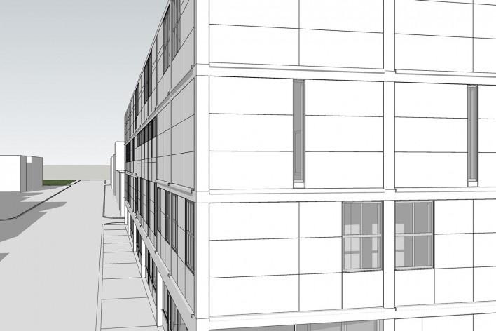 Detalhe da fachada<br />Elaboração Edson Mahfuz