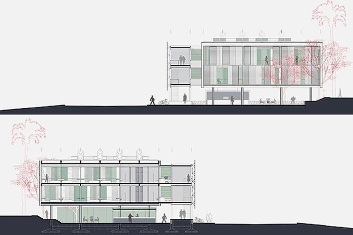 Dormitórios e alojamentos para professores e estudantes, cortes BB e CC. Sic Arquitetura, 2008<br />Desenho escritório