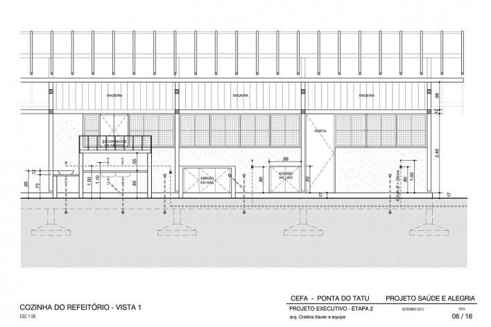 Centro Experimental Floresta Ativa - CEFA, elevação da cozinha do refeitório principal, RESEX Tapajó-Arapiuns PA. Arquiteta Cristina Xavier<br />Imagem divulgação