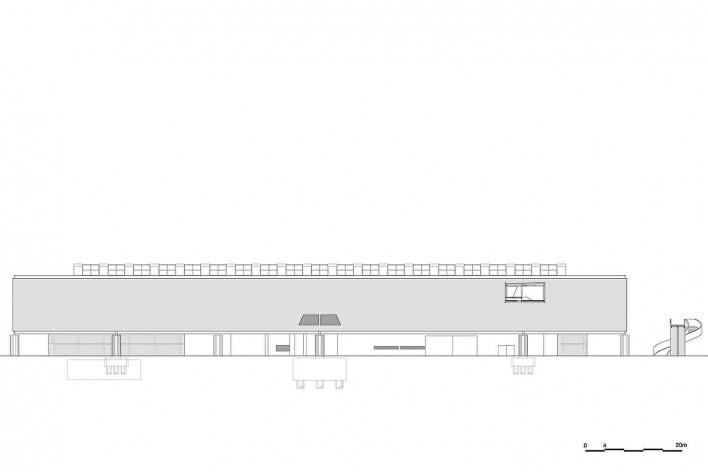 Museu Nacional dos Coches, elevação do pavilhão principal, Lisboa. Arquiteto Paulo Mendes da Rocha, MMBB arquitetos e Bak Gordon arquitetos<br />Imagem divulgação