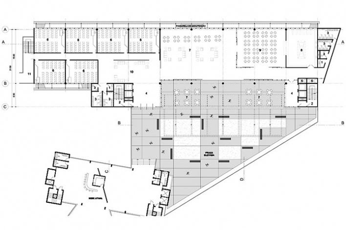 Centro de Referência em Empreendedorismo do Sebrae-MG, planta primeiro pavimento, 2º lugar. Arquiteto Francisco Spadoni, 2008<br />Desenho escritório
