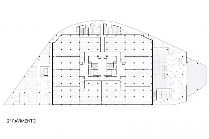 Concurso Anexo da Biblioteca Nacional, planta pavimento 2, Rio de Janeiro, 3º lugar, arquiteto Renato Dal Pian<br />Imagem divulgação