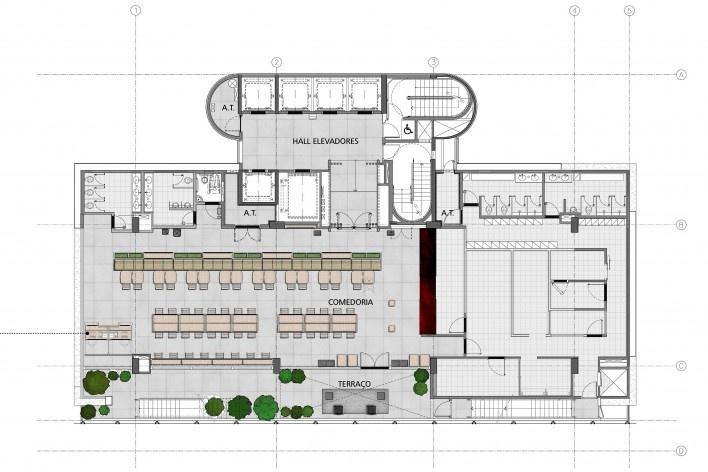 Sesc Avenida Paulista, planta 14º pavimento - comedoria, escritório Königsberger Vannucchi, 2018<br />Imagem divulgação  [Königsberger Vannucchi Arquitetos Associados]