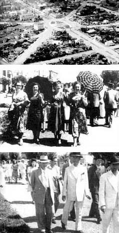 Fotos antigas: Praça central e footing no Passeio Central<br />Imagem dos autores do projeto