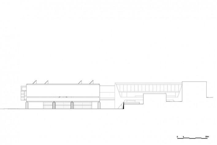 Museu Nacional dos Coches, elevação do pavilhão principal e do anexo, Lisboa. Arquiteto Paulo Mendes da Rocha, MMBB arquitetos e Bak Gordon arquitetos<br />Imagem divulgação