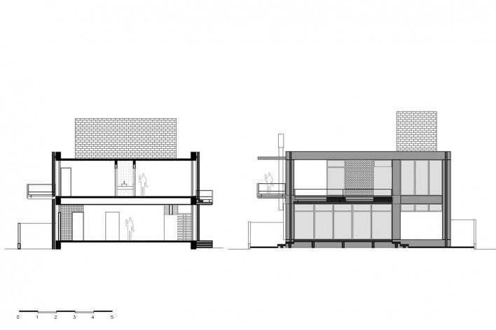 Casa D, cortes BB e CC, Praia Alegre, Penha SC Brasil, 2014. Arquiteto Pablo José Vailatti / PJV Arquitetura<br />Imagem divulgação  [PJV Arquitetura]