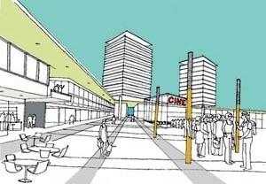 Vista interna da praça<br />Imagem dos autores do projeto