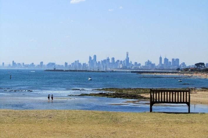 Skyline de Melbourne, visto de Brighton<br />Foto Gabriela Celani