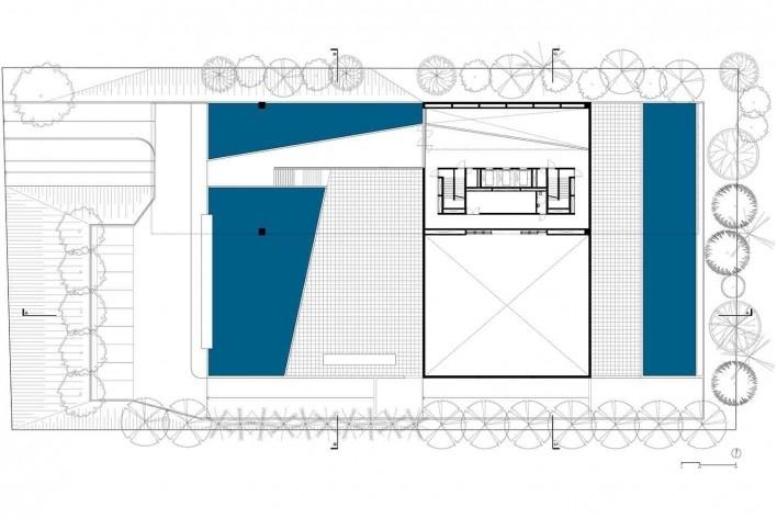 Nova sede da Confederação Nacional de Municípios – CNM, planta térreo, Brasília DF, 2016. Arquitetos Luís Eduardo Loiola e Maria Cristina Motta / Mira Arquitetos<br />Desenho divulgação