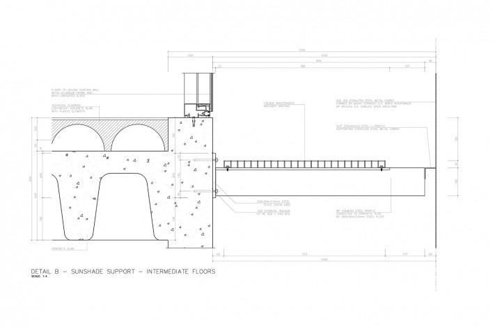 Centro Paula Souza, São Paulo, suporte do brise dos pisos intermediários (detalhe B), arquitetos Francisco Spadoni e Pedro Taddei<br />Imagem divulgação
